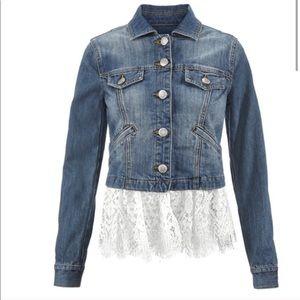CABI Dakota denim jean jacket with lace trim